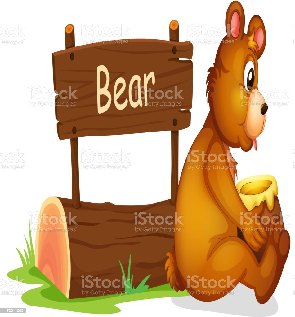 Bear sitting beside a wooden signage royalty-free stock vector art