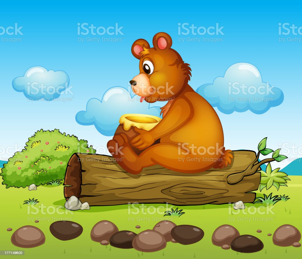 Bear sitting down on the trunk of a tree royalty-free stock vector art
