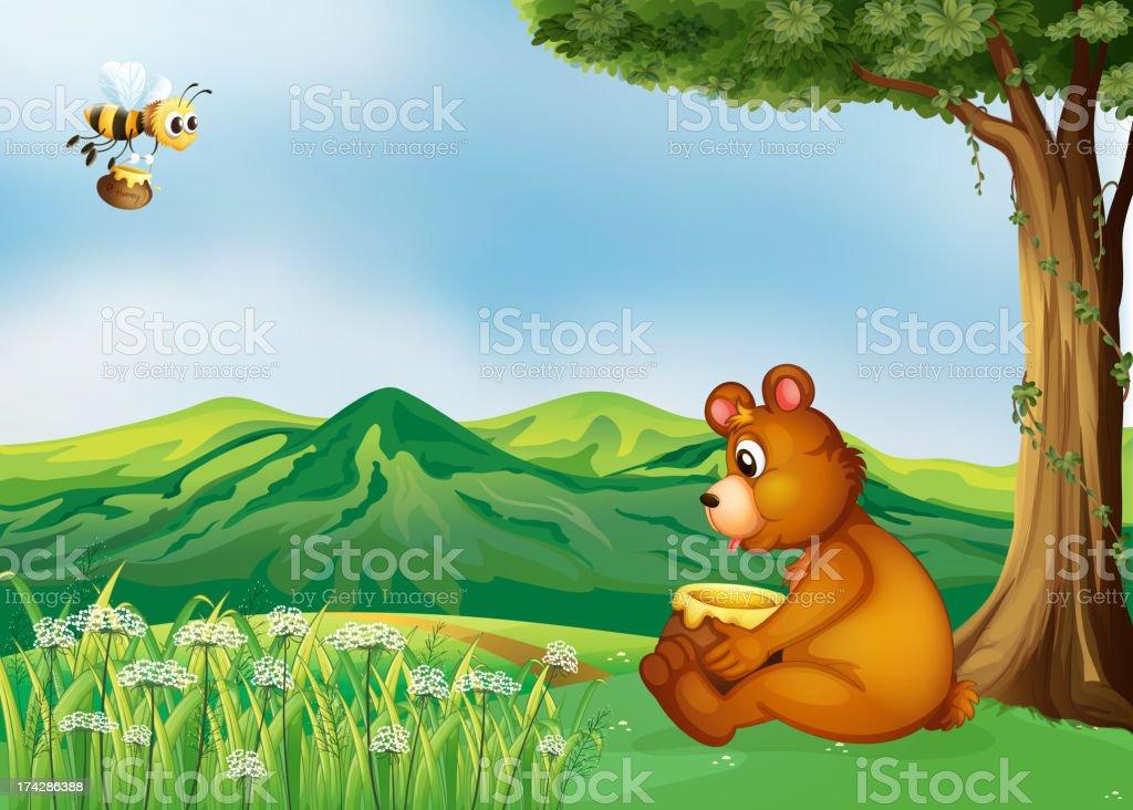 Bear sitting near a tree royalty-free stock vector art