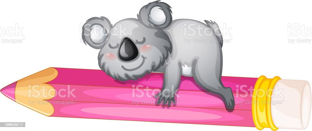 Bear sleeping on pencil royalty-free stock vector art