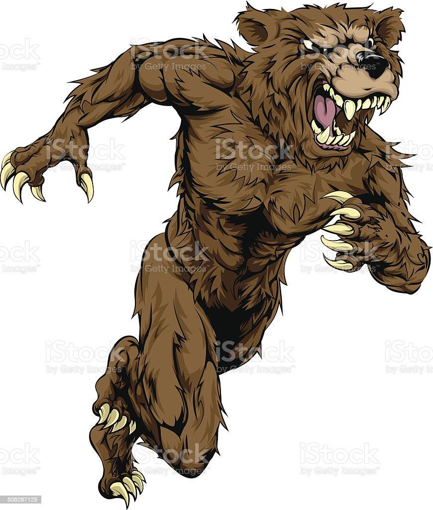 Bear sports mascot running vector art illustration