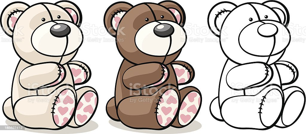 bear toy in two colors and outline royalty-free stock vector art