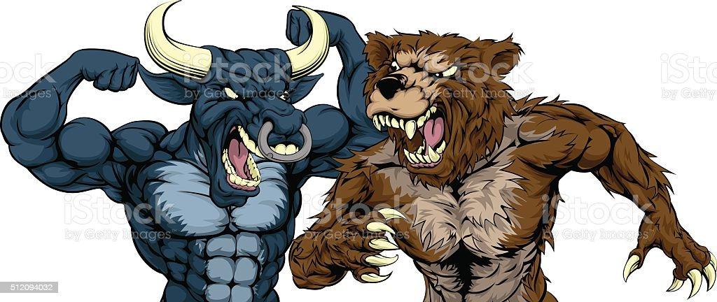 Bear Versus Bull Concept vector art illustration