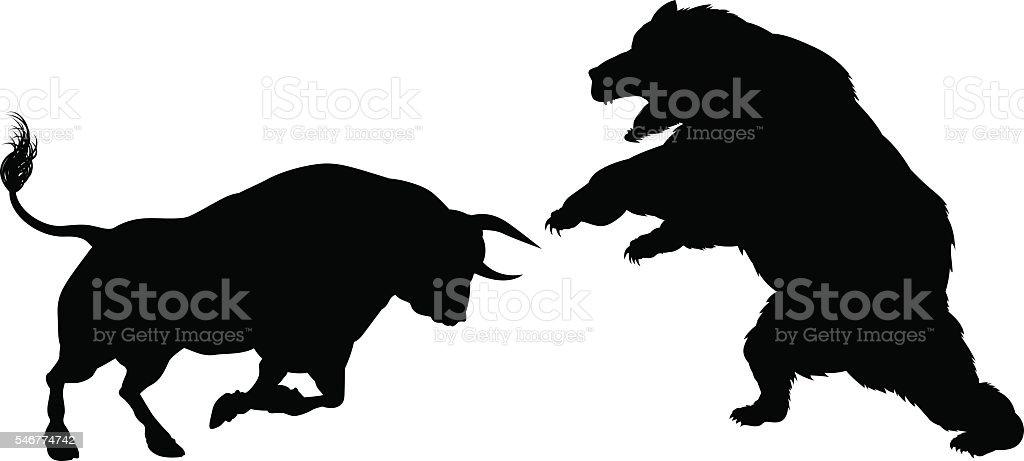 Bear Versus Bull Silhouette Concept vector art illustration