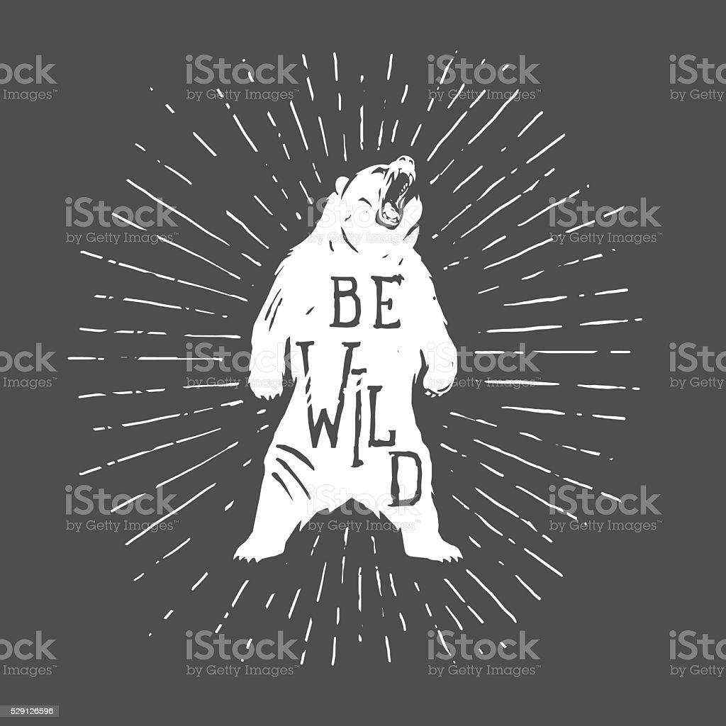 Bear vintage illustration with slogan vector art illustration