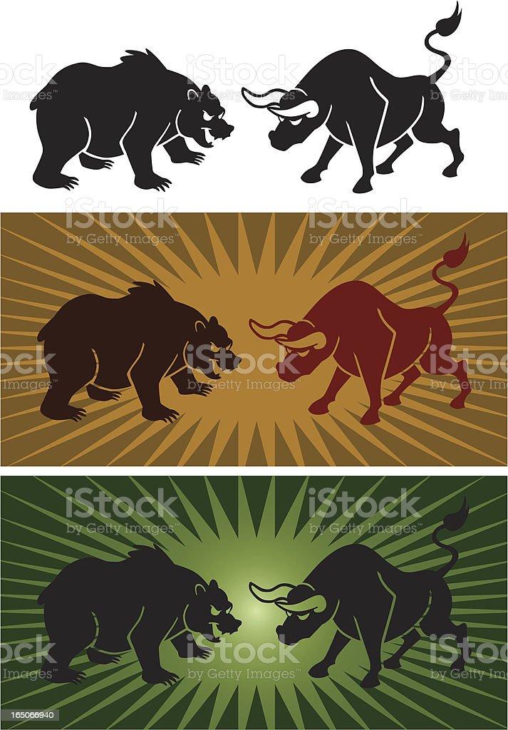 Bear Vs Bull vector art illustration