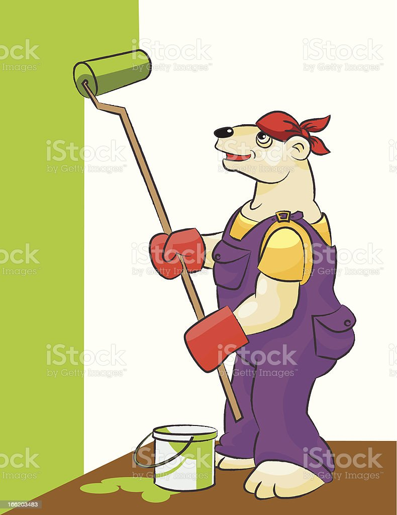 Bear white is the painter royalty-free stock vector art