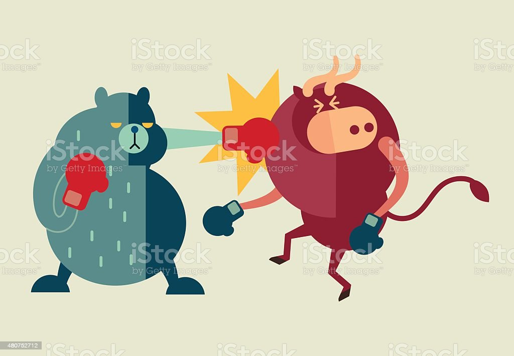 bear win over  bull in stock market and euro crisis vector art illustration