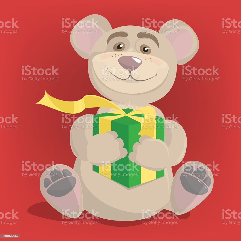 Bear with a gift for the new year, Vector illustration vector art illustration