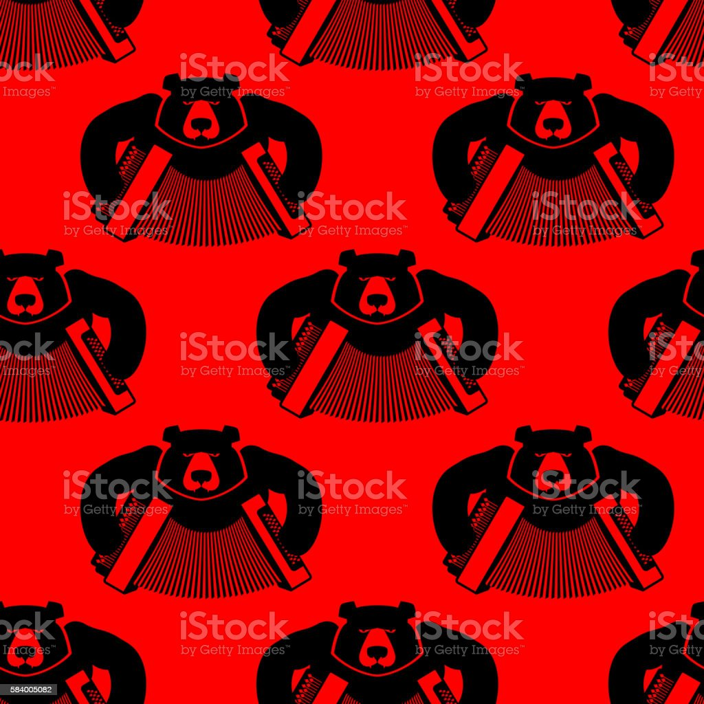 Bear with accordion seamless pattern. Wild beast and musical ins vector art illustration