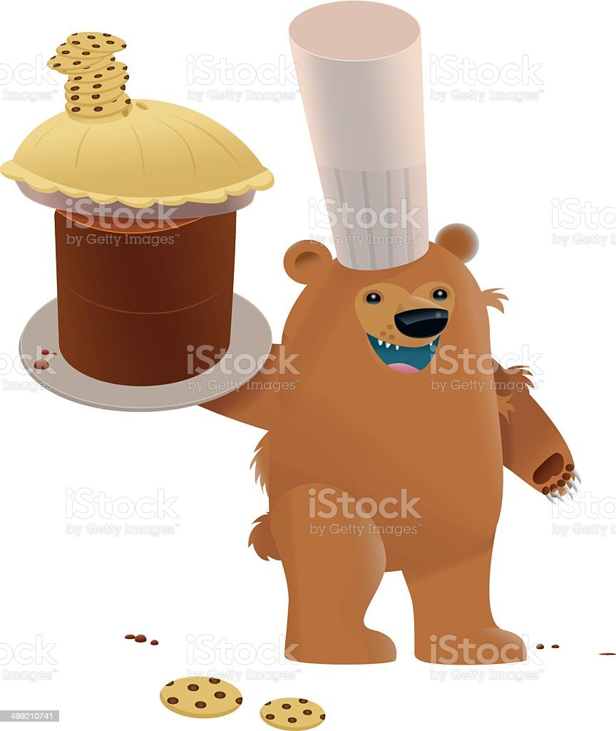 Bear With Baked Goods royalty-free stock vector art