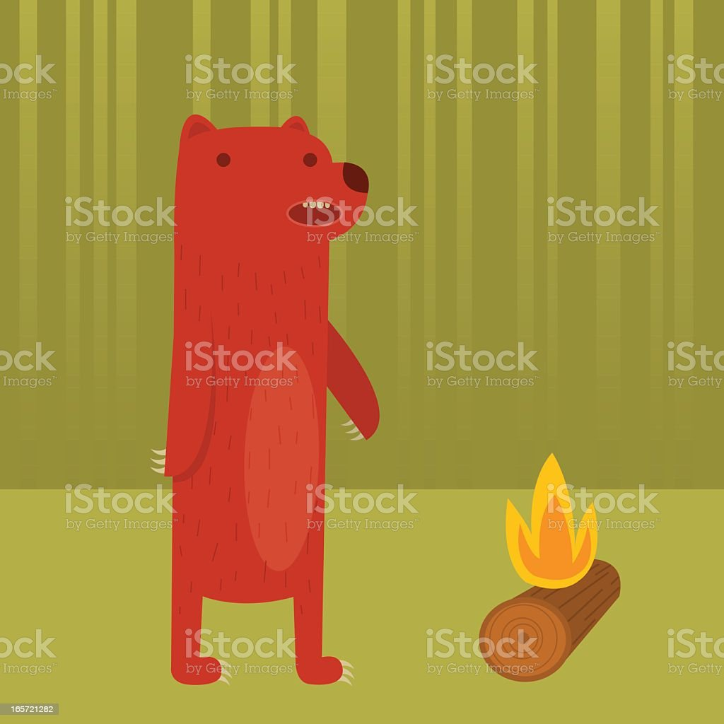 Bear with Campfire vector art illustration