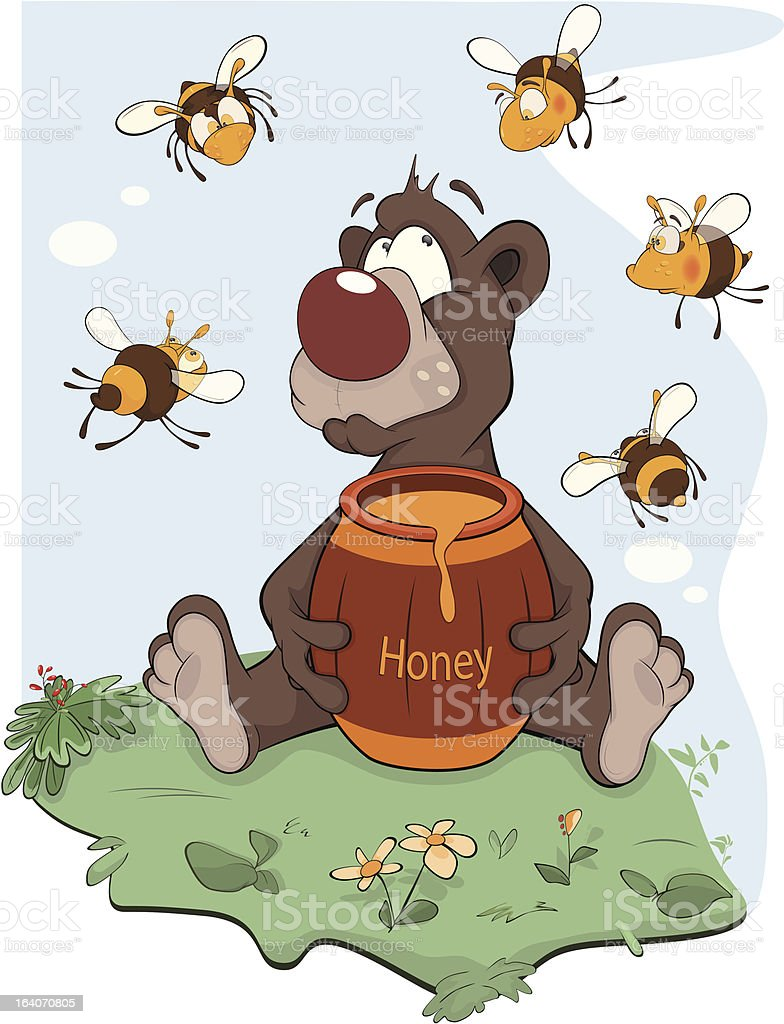 Bear with honey and bees royalty-free stock vector art