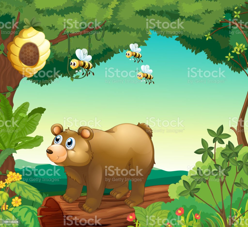 Bear with three bees inside the forest royalty-free stock vector art