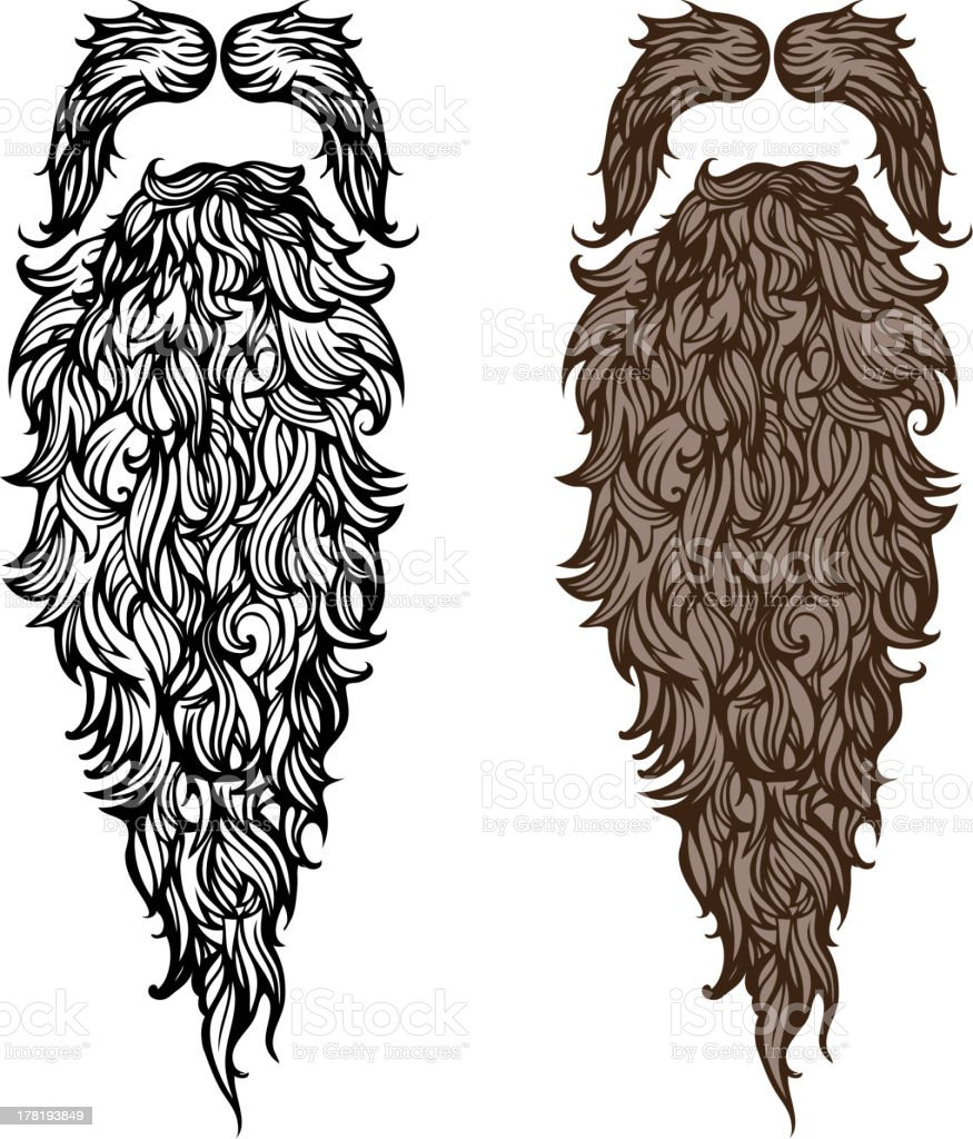Beard and mustache vector art illustration