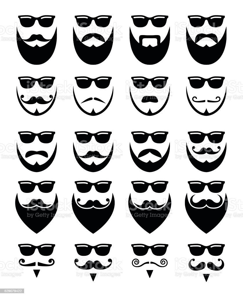 Beard and sunglasses, hipster icons set vector art illustration