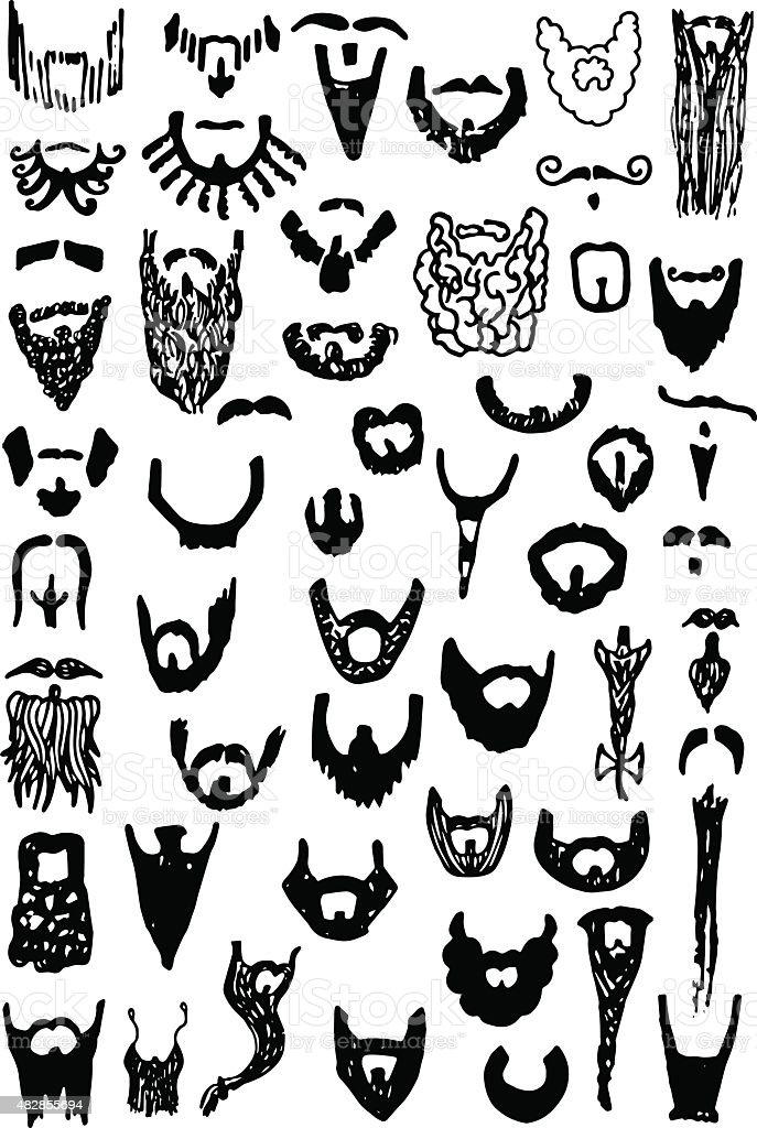 Beard Doodles vector art illustration