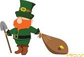 Beard leprechaun with a shovel and a bag