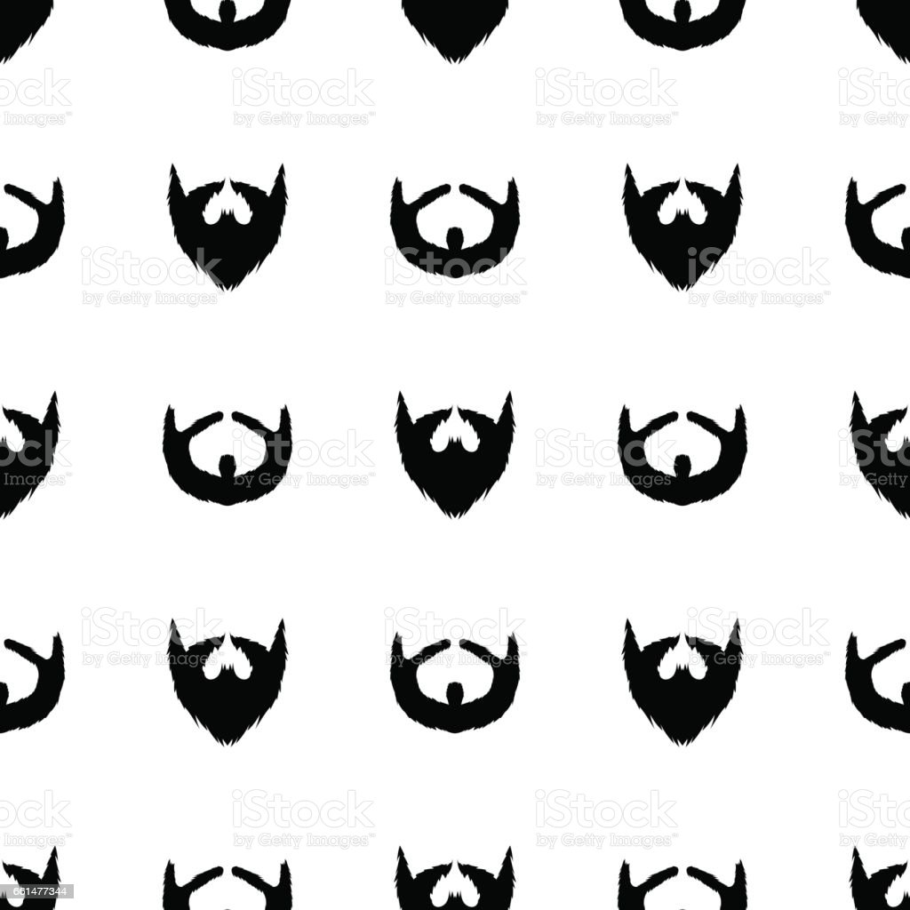 Beard Silhouette Seamless Pattern vector art illustration