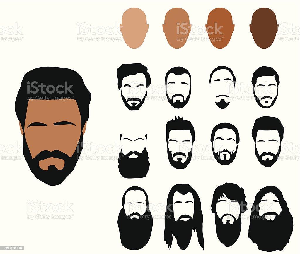 Beard styles, vector vector art illustration