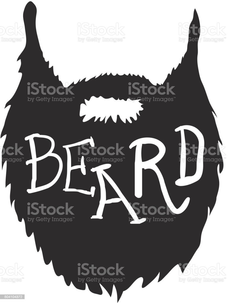 Beard with Text isolated on white background Vector vector art illustration