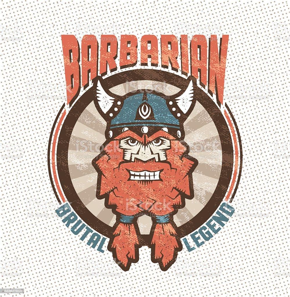 bearded barbarian vector art illustration