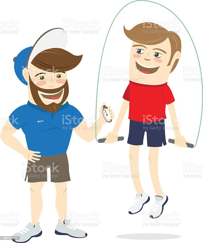 Bearded fitness personal trainer instructor and funny sportsman vector art illustration