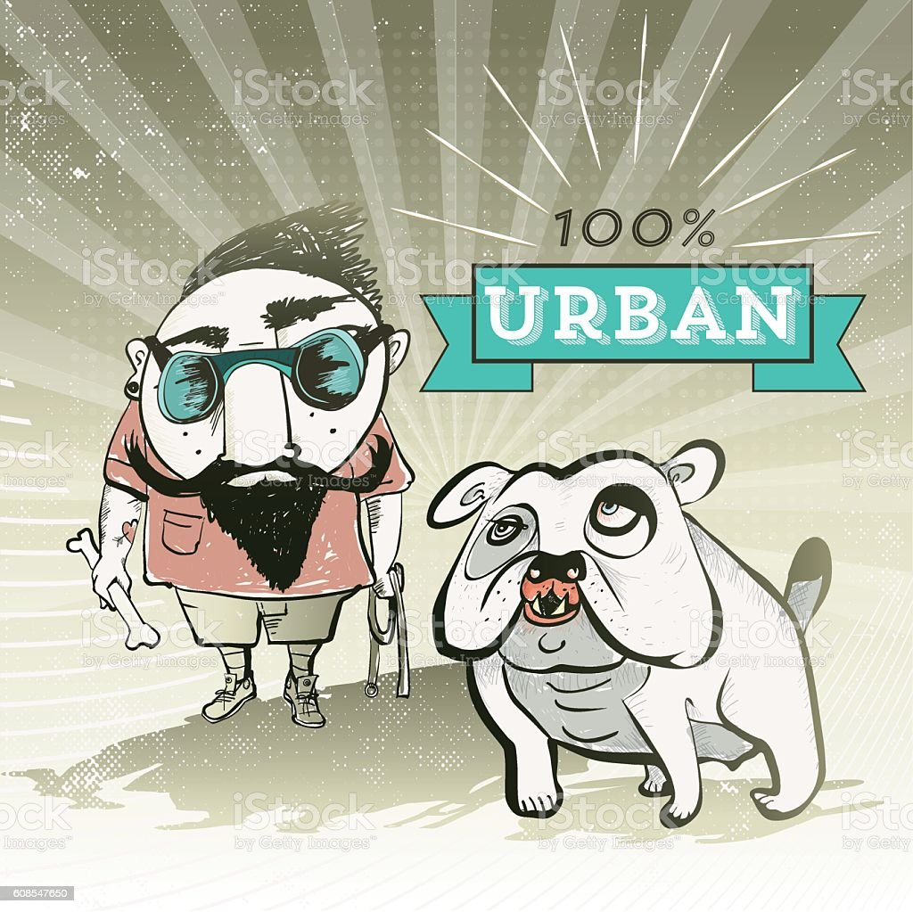 bearded grunge guy with bulldog vector art illustration