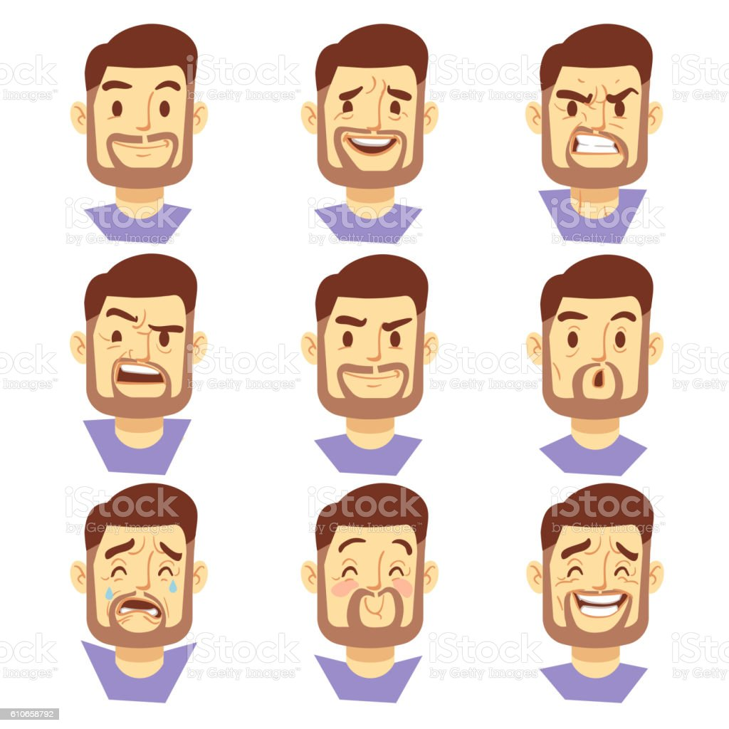 Bearded hipster man character emotions, male heads set vector art illustration