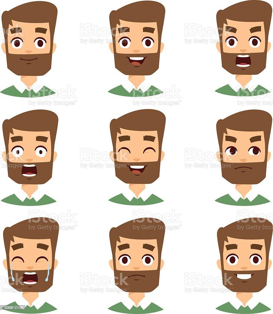 Bearded man face vector illustration vector art illustration