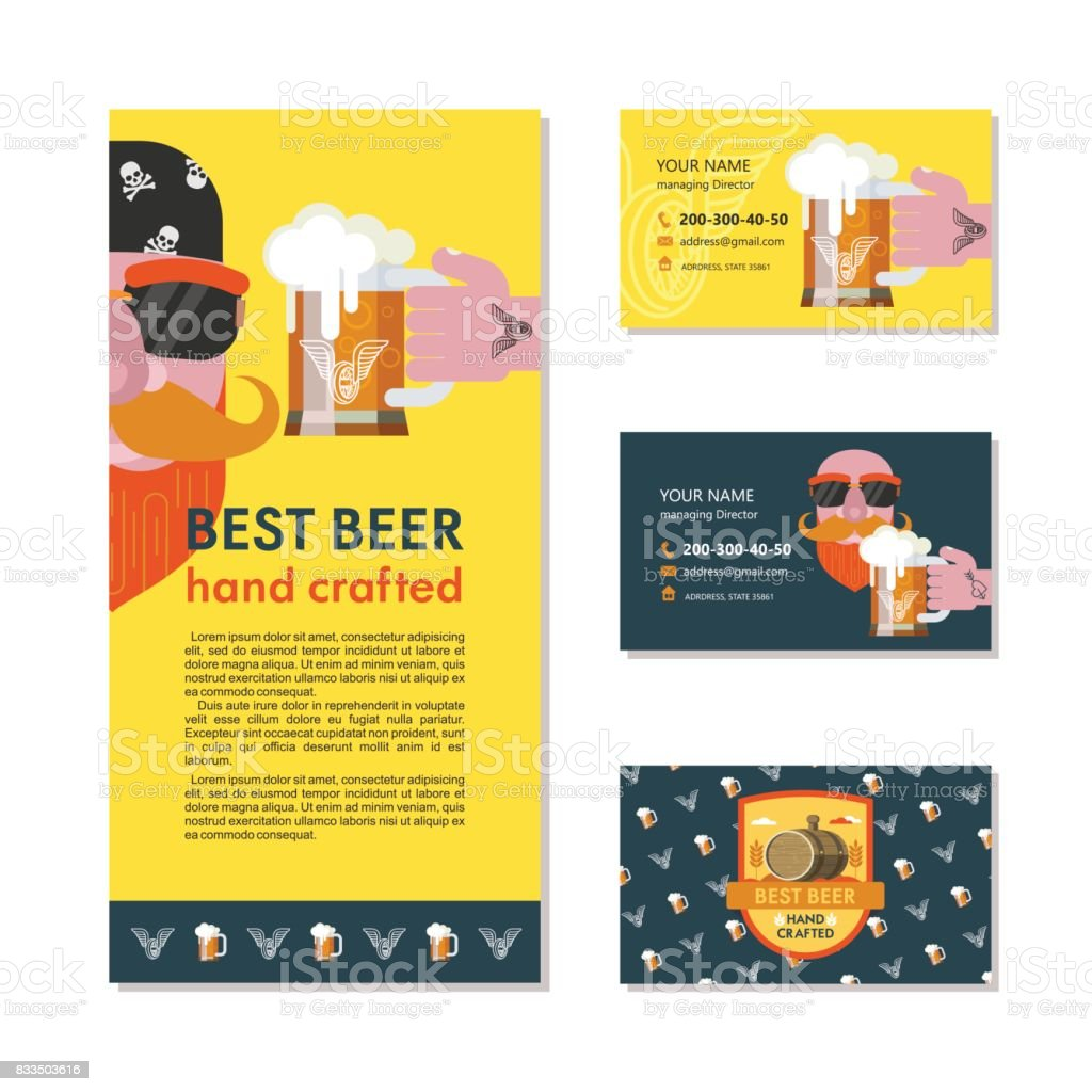 A bearded man in a bandana with sunglasses. A mug of beer in his hand with a tattoo. Design of corporate business cards and flyers pub logo. vector art illustration