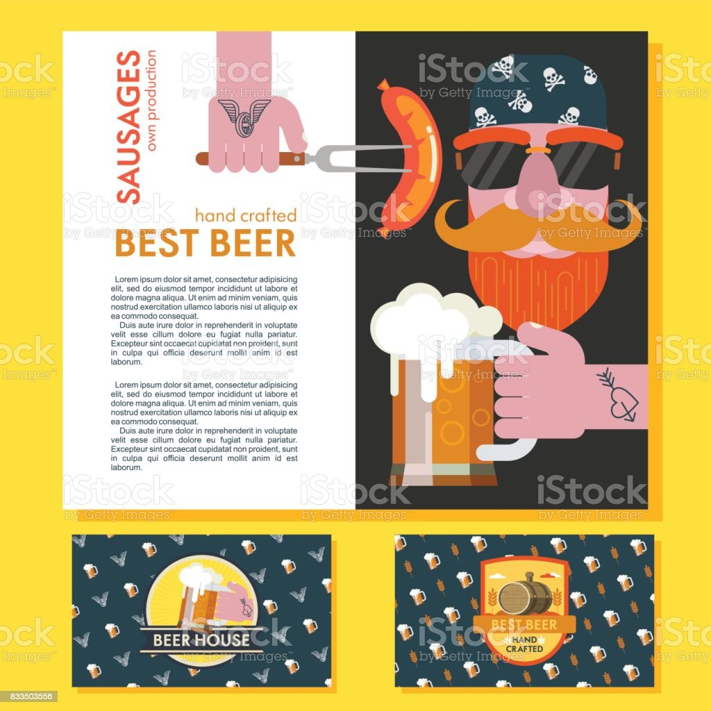 A bearded man in a bandana with sunglasses. Beer mug tattooed hands. Grilled sausage on a fork in his hand. Design corporate business cards beer bar logo. vector art illustration