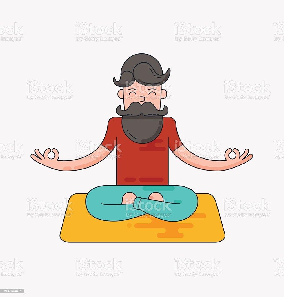 Bearded man in meditation vector art illustration