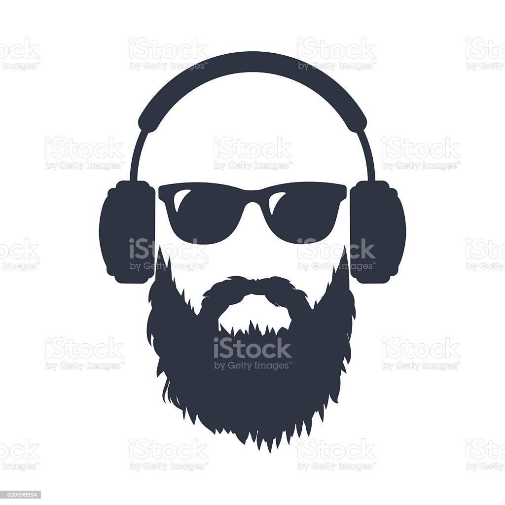 Bearded man in sunglasses and headphones vector art illustration