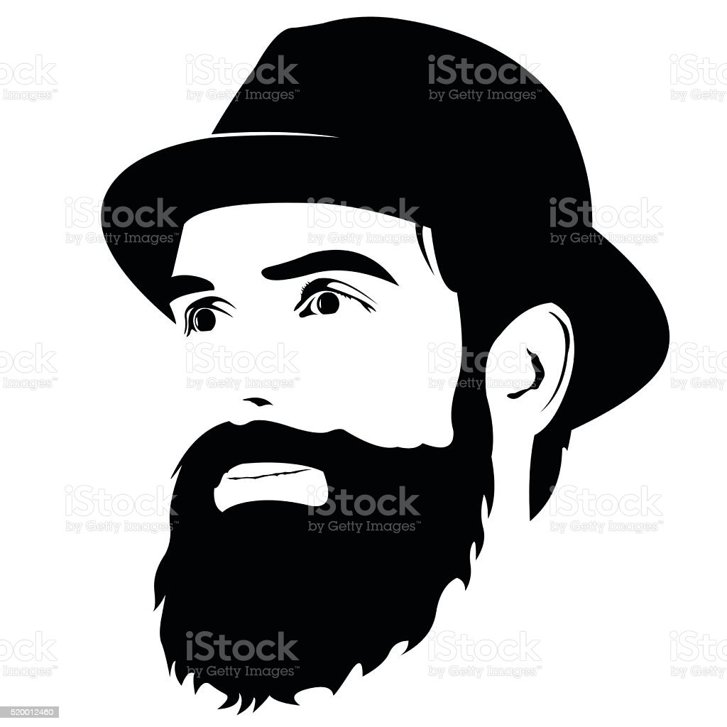 Bearded man with hat smiling looking away vector vector art illustration