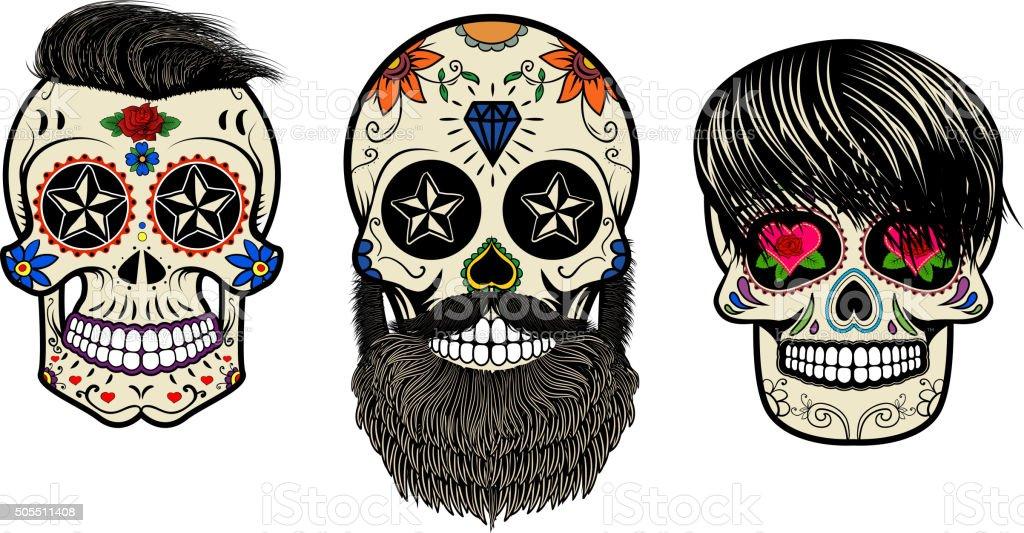 bearded skulls. Vector illustration. vector art illustration