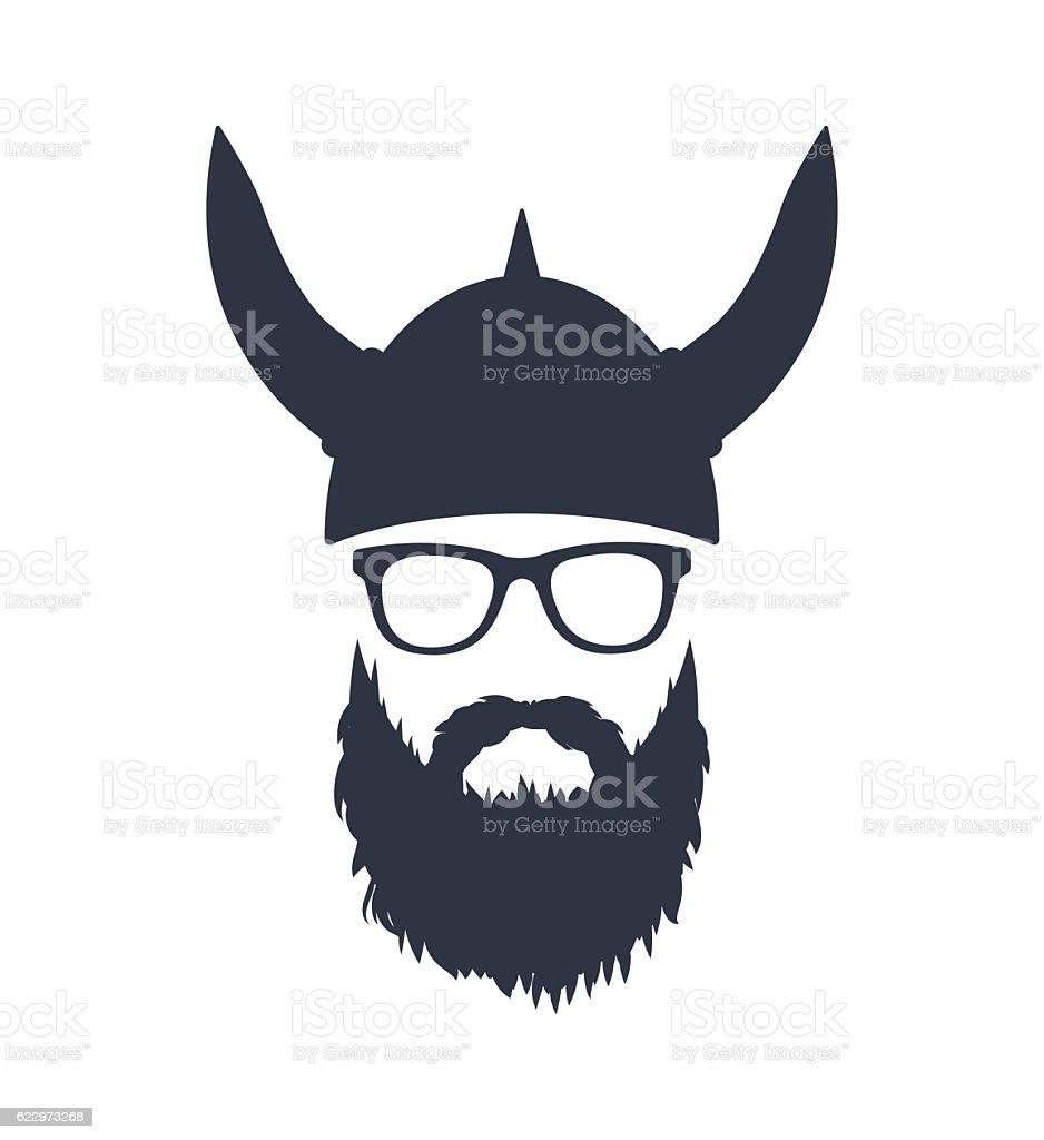 Bearded Viking with glasses and helmet vector art illustration