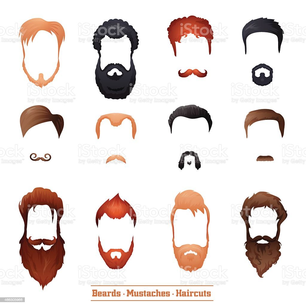 Beards and Mustaches, Hairstyles vector art illustration