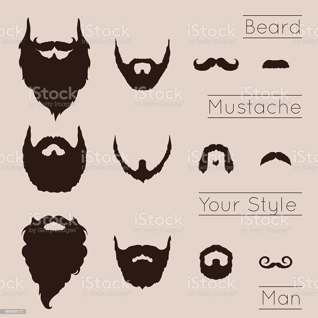 Beards and Mustaches set vector art illustration