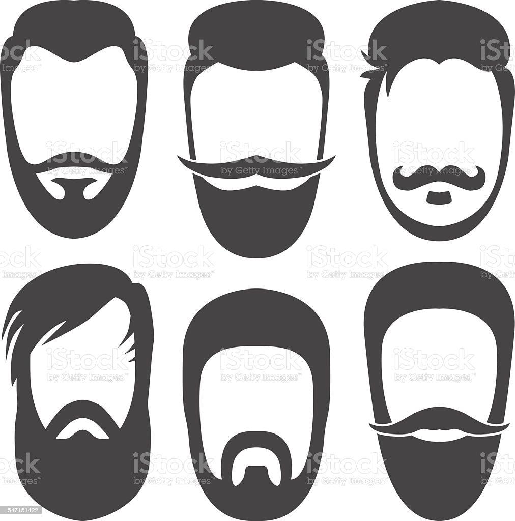 Beards, moustaches. vector art illustration