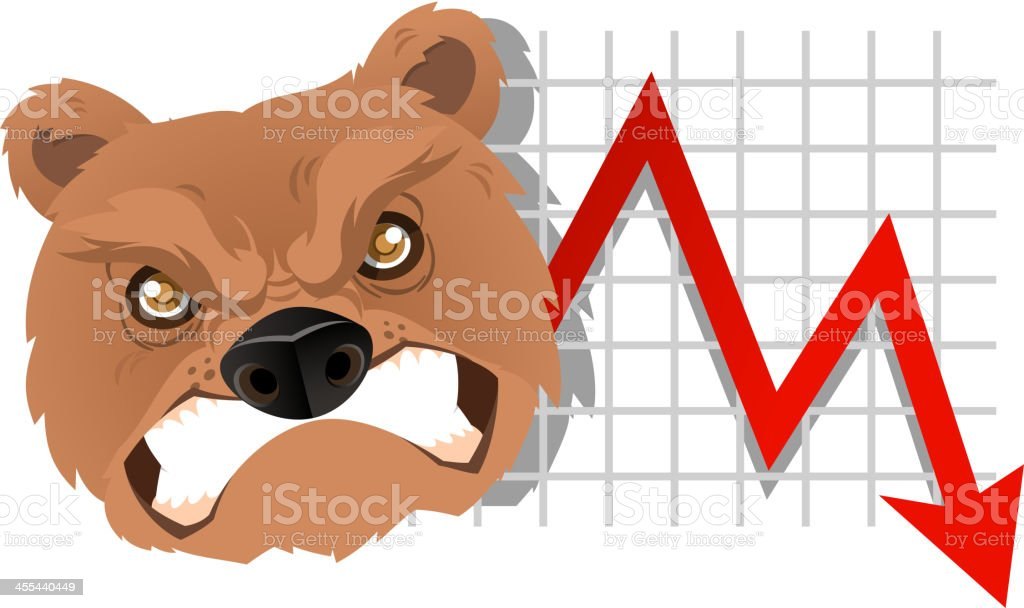 Bearish bear chart vector art illustration