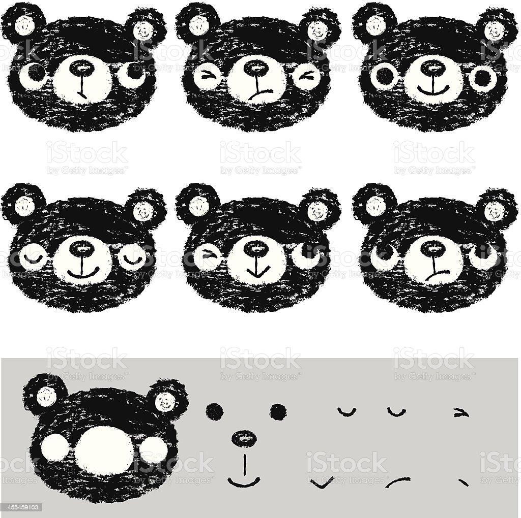 Bear's faces vector art illustration