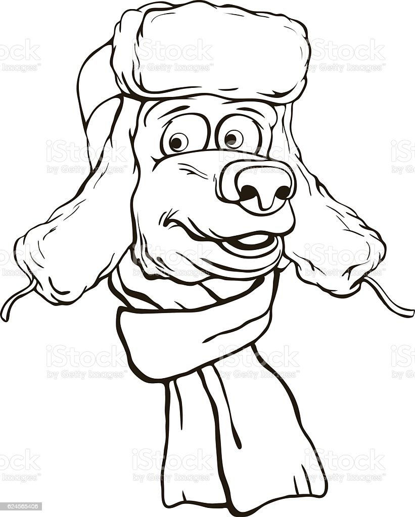 Bear's head in winter hat and scarf vector art illustration