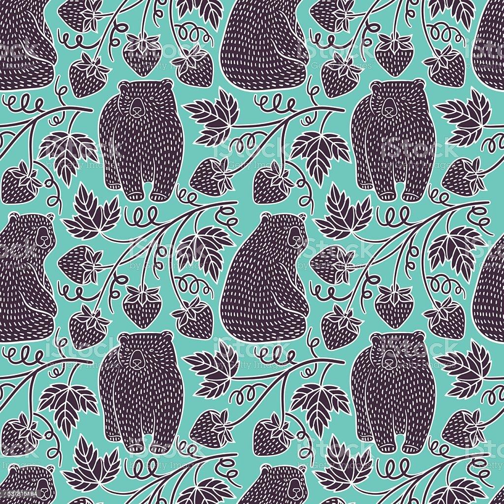 Bears seamless pattern vector art illustration