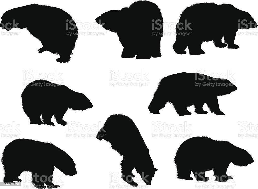 bears silhouette set royalty-free stock vector art