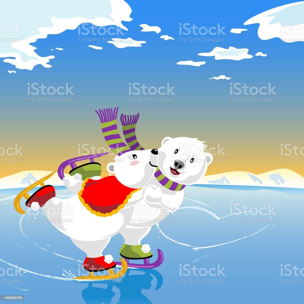 Bears Skating Romance vector art illustration