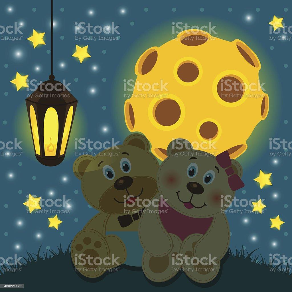 bears under the moon royalty-free stock vector art