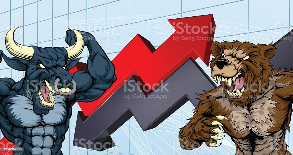 Bears Versus Bulls Stock Market Concept vector art illustration