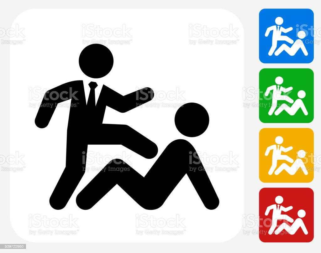 Beating Up Businessman Icon Flat Graphic Design vector art illustration