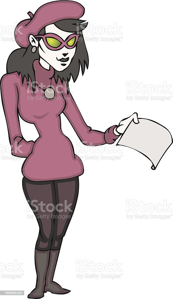 Beatnik Poet Woman vector art illustration